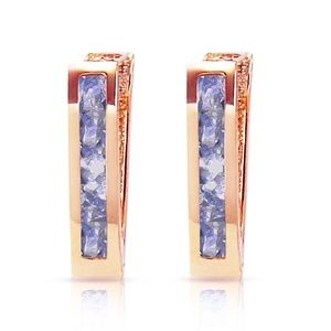 GOLD HUGGIE HOOP EARRING WITH TANZANITES